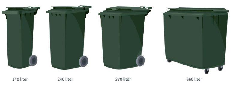 Avfallsbeholdere i forskjellige størrelser