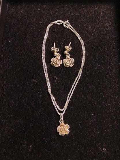 Rose smykke og øredobber 925 sølv 3