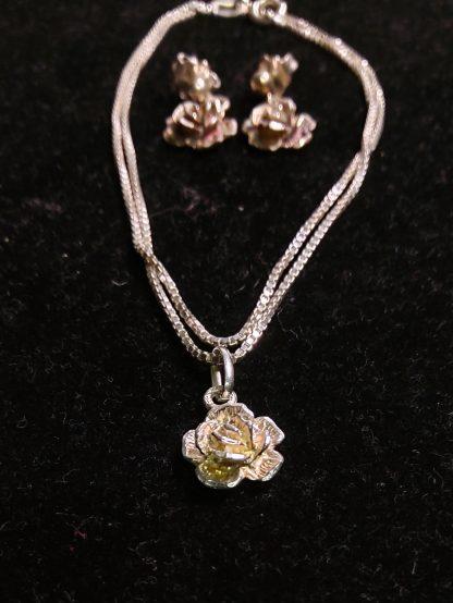 Rose smykke og øredobber 925 sølv 4
