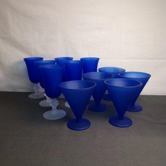 Blå glass 11 deler