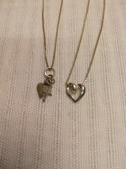 2 stk sølvsmykker tro og kjærlighet 1