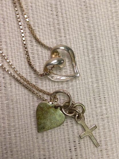 2 stk sølvsmykker tro og kjærlighet 2