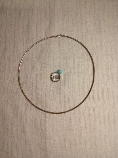 Smykke og ring med turkis perle 925s