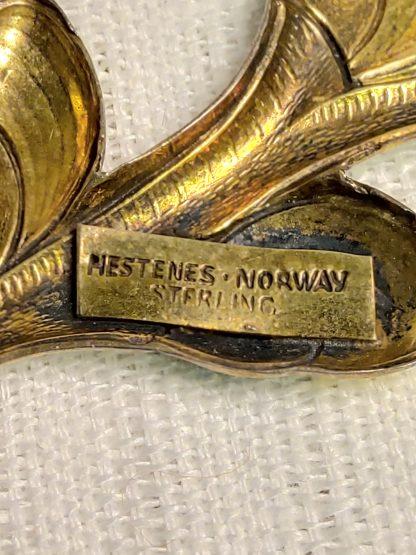 Vintage Hestenes emalje brosje 2