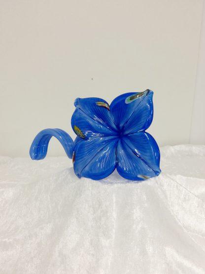 Murano blå blomst håndblåst glass