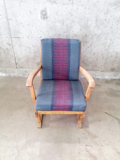 Vintage stol med blå og plommerød putetrekk 3