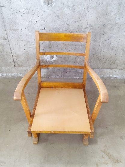 Vintage stol med blå og plommerød putetrekk 5