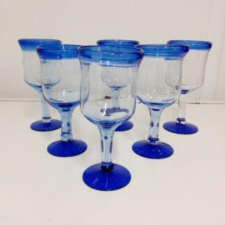 6stk stetteglass transparent med blå