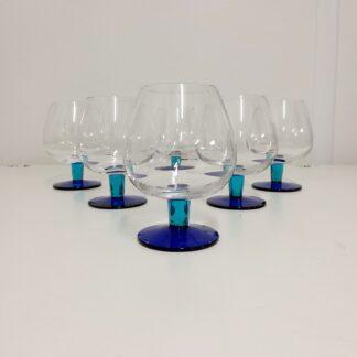 Cognacglass blå stett 6 stk