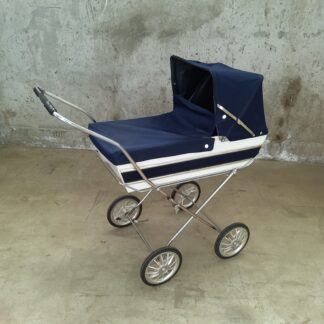 Vintage mørk blå dukkevogn
